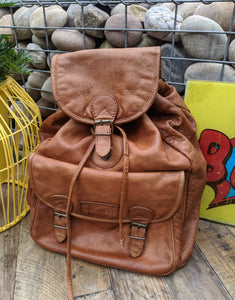 Vintage large brown leather backpack