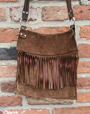 Item 96 70s fringed suede handbag