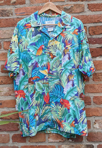 Cool parrot print Hawaiian shirt L