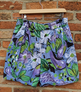 Purple tropical floral shorts waist 32-34""