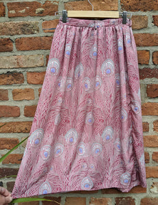 Peacock feather print skirt waist 25""