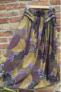 Gold & purple patterned midi skirt waist 28-34""