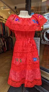 Red embroidered prairie dress size 8/10