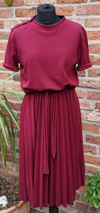 Stretch burgundy 80s midi dress size 14/16