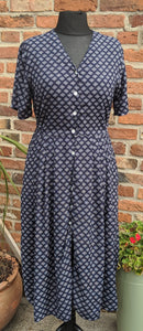 Navy patterned buttin through 90s dress size 16