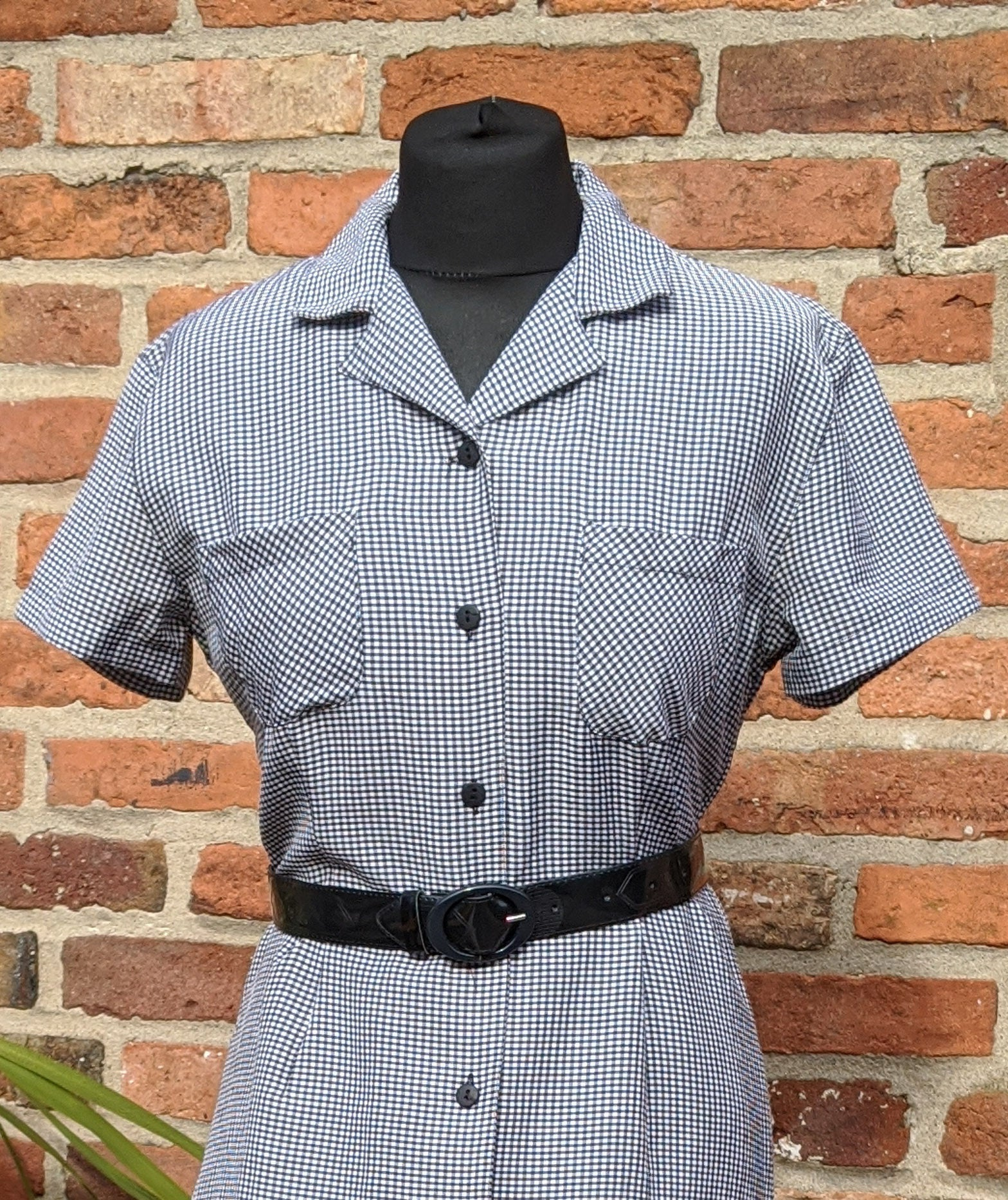 90s black & white checked dress size 10/12