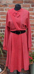 Red lurex 80s midi dress size 12