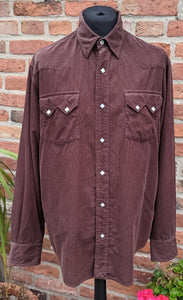 90s brown soft cord shirt size XL
