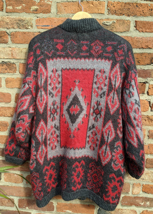 Oversized 80s patterned cardigan size XL