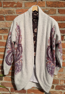 Oversized 80s paisley patterned wool cardigan size XL