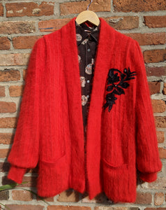 Red 80s mohair cardigan size L