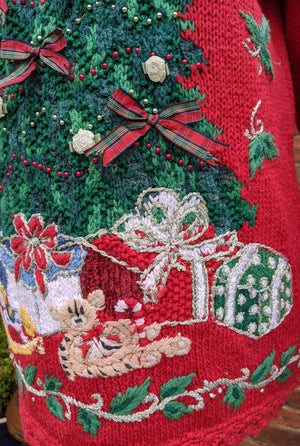 Embellished Christmas tree jumper size M