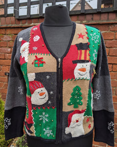 Crazy patterned Christmas cardigan size L