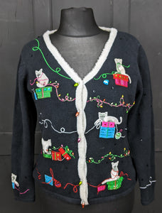 Crazy Christmas cat cardigan size M