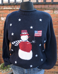 US Snowman Christmas jumper size L Item 846
