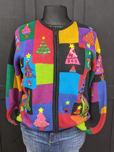 Bold coloured Christmas cardigan size L Item 853