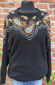 Heavily beaded 89s statement jumper size L item 890