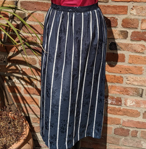 Unusual slate blue striped lined poly midi skirt waist 32""