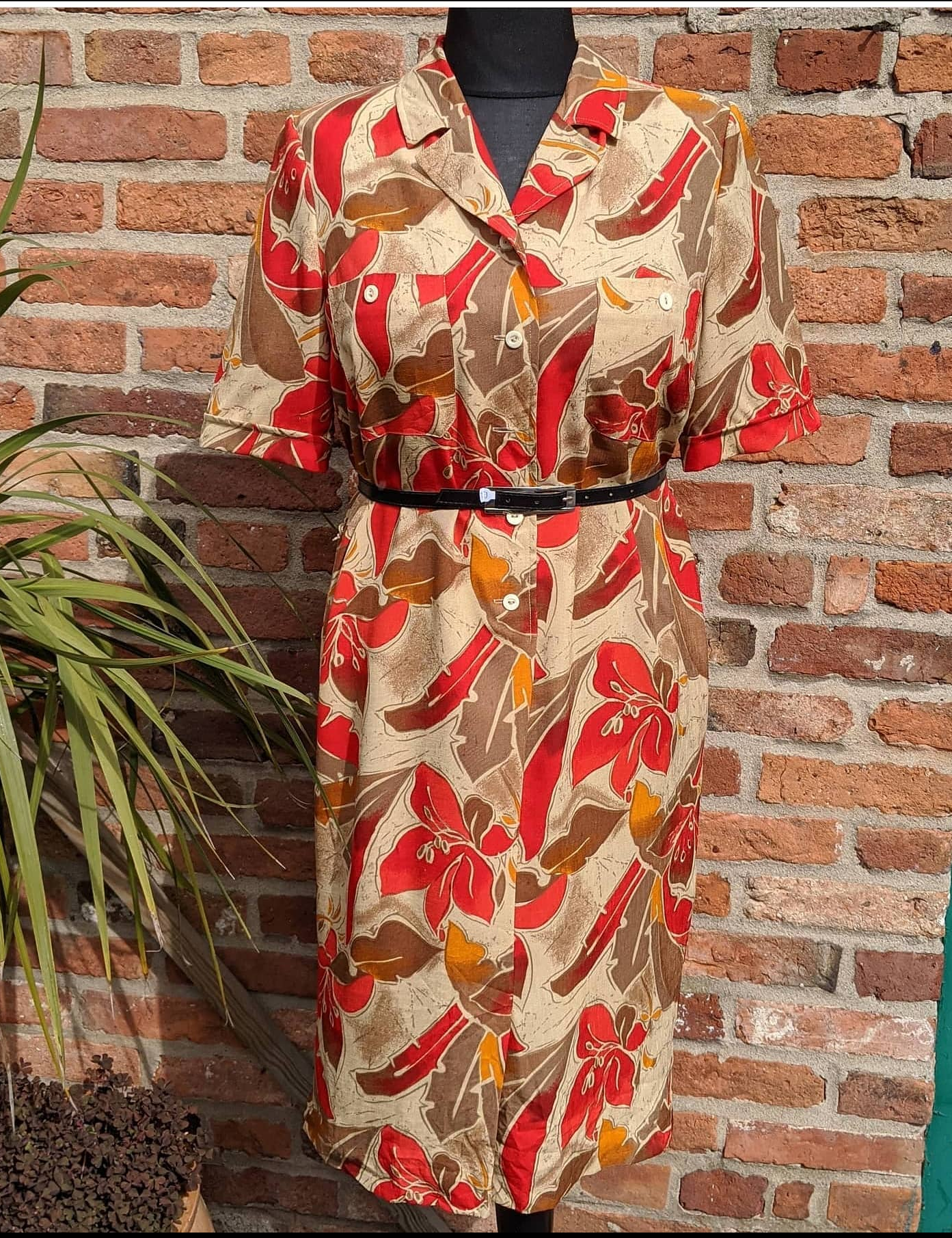80s Tropical print Parisian shirt dress size 16/18