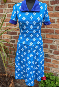 60s Bold colour and print stretch poly crimplene dress 10/12/14