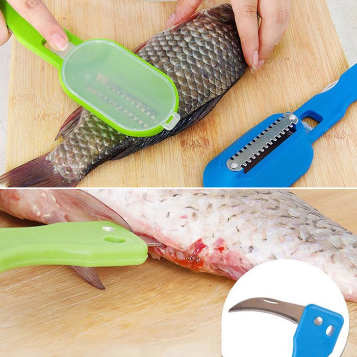Scraping Scale Kill Fish With Knife Machine Kitchen Tools