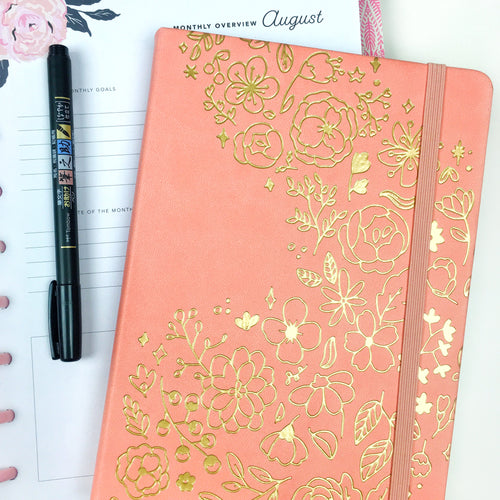 Floral Shower Coral A5 Dot Grid Journal
