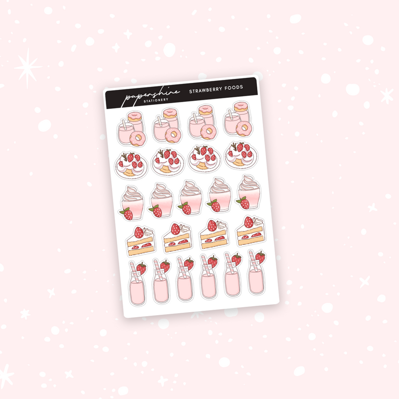 Strawberry Food Doodle Stickers