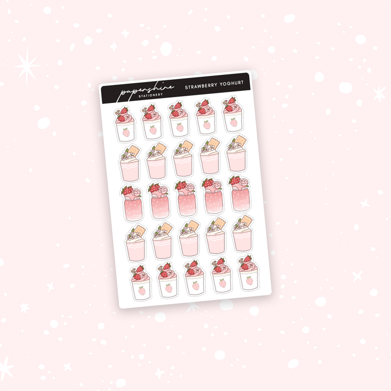 Strawberry Yoghurt Doodle Stickers