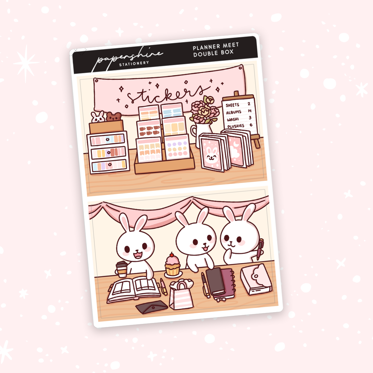 Planner Meet Up Double Boxes Doodle Stickers
