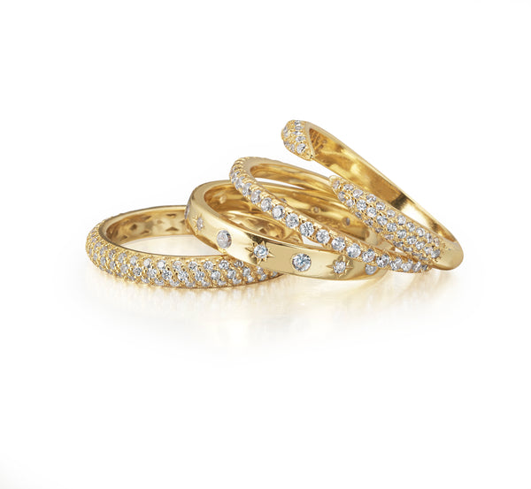 Stack rings for women diamond gold chic pretty