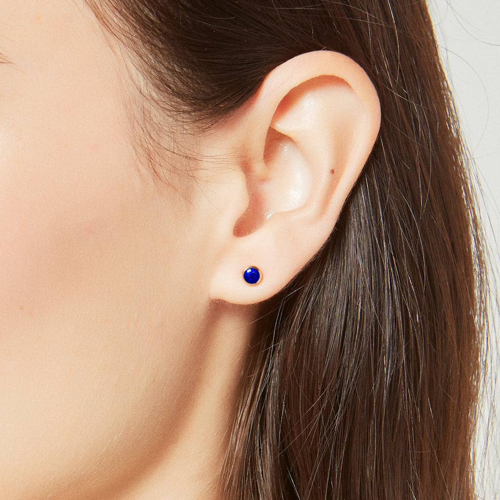 Single Lapis Sphere Stud