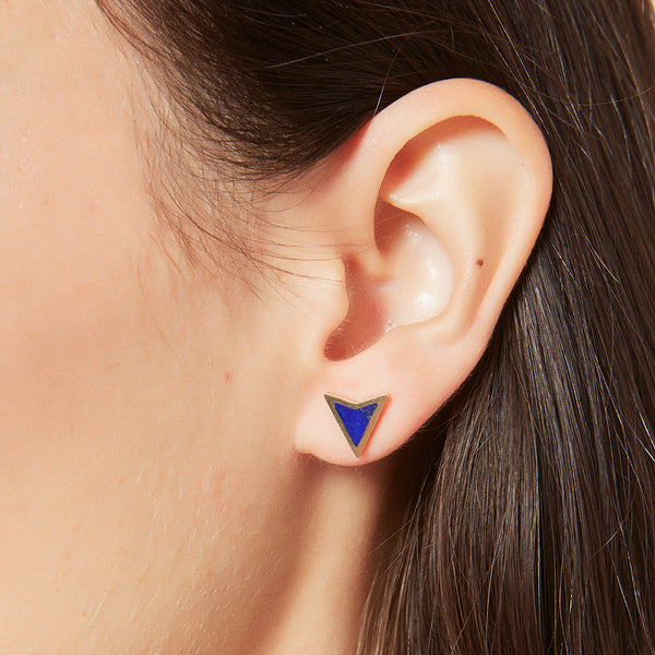 Single Lapis Arrowhead Stud