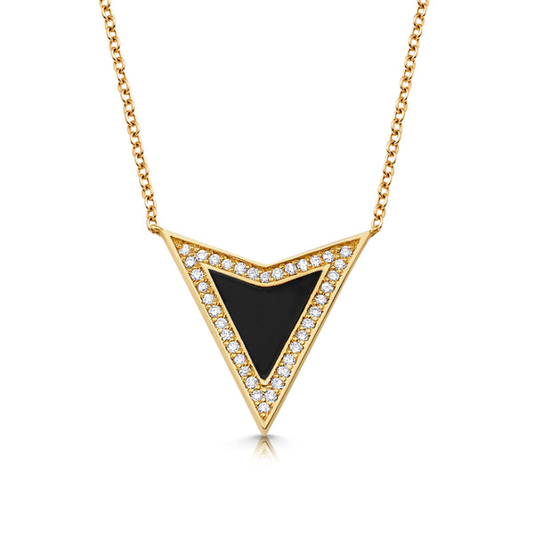 Obsidian Halo Arrow Necklace