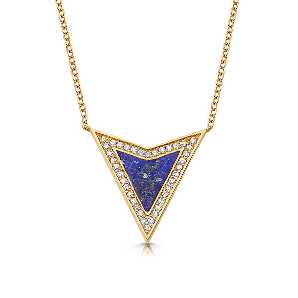Lapis Arrowhead Halo Necklace