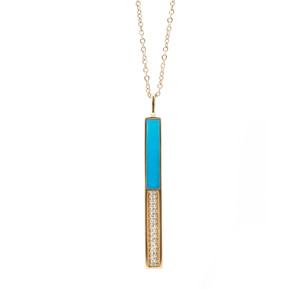 Turquoise Pave Bar Necklace