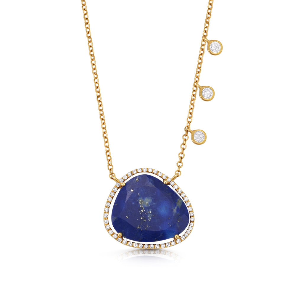 Lapis Lazuli Pave Halo Necklace gold ambyr childers jewelry
