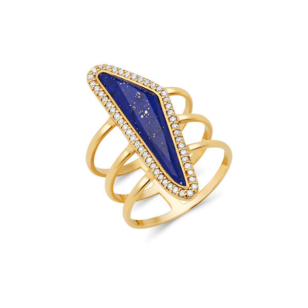 Lapis Lazuli Halo Slice Ring gold ring new design for women