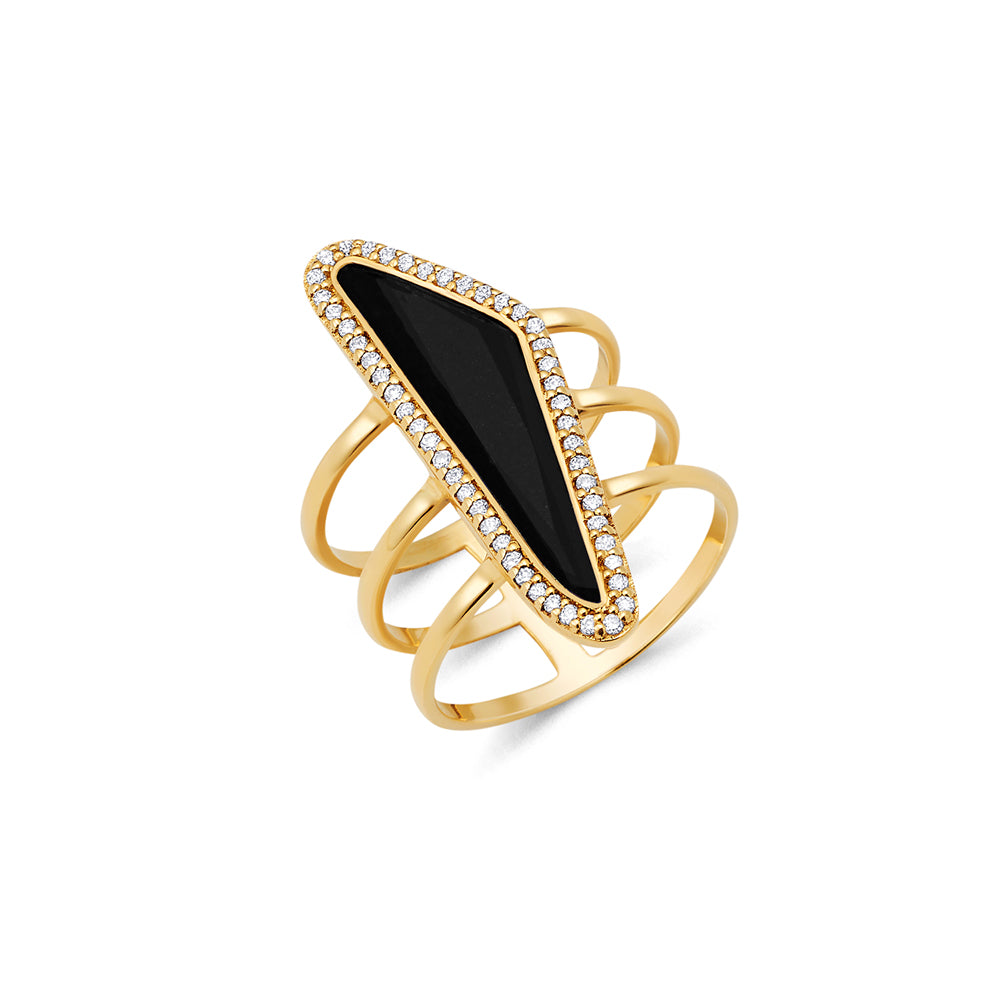 Obsidian gold ring new design for women | Ambyr Childers Jewelry