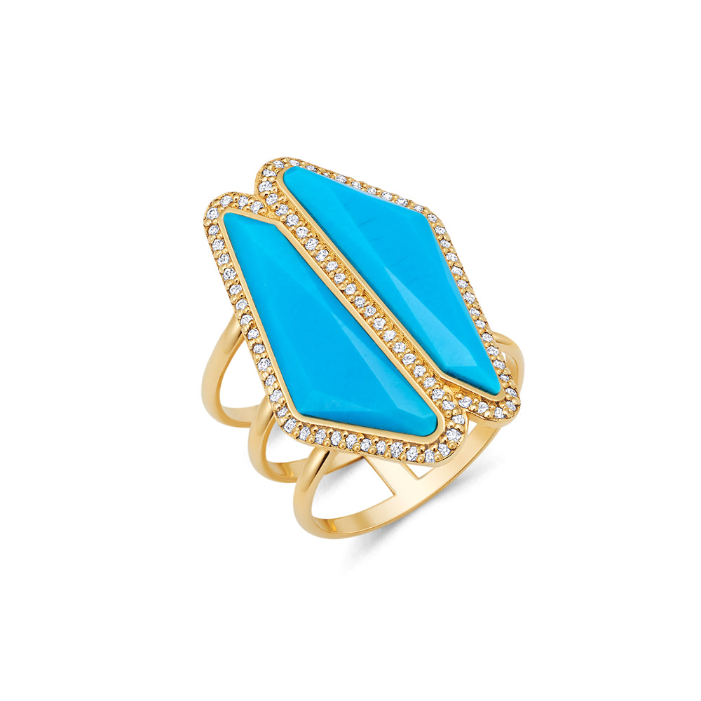 Turquoise Double Halo Slice Ring