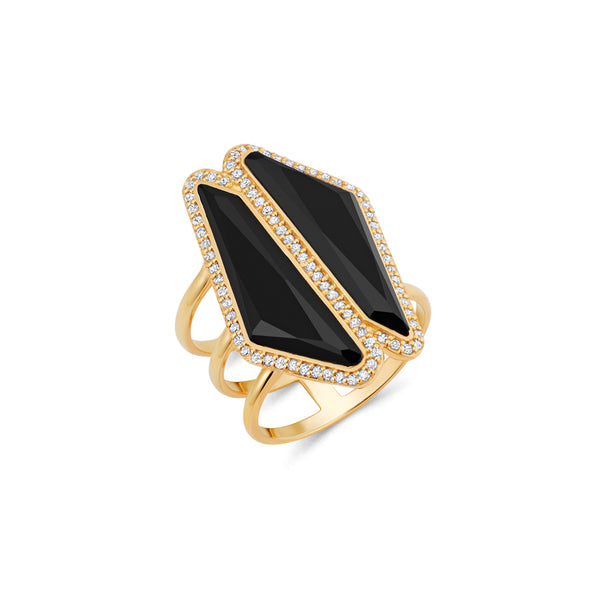 Obsidian Double Halo Slice Ring