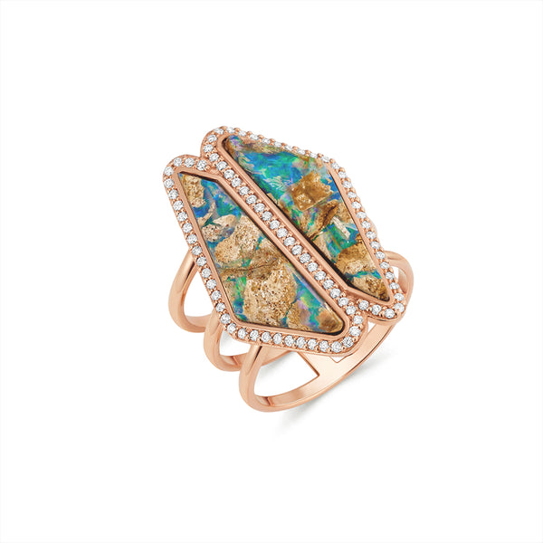 Opal Double Halo Slice Ring