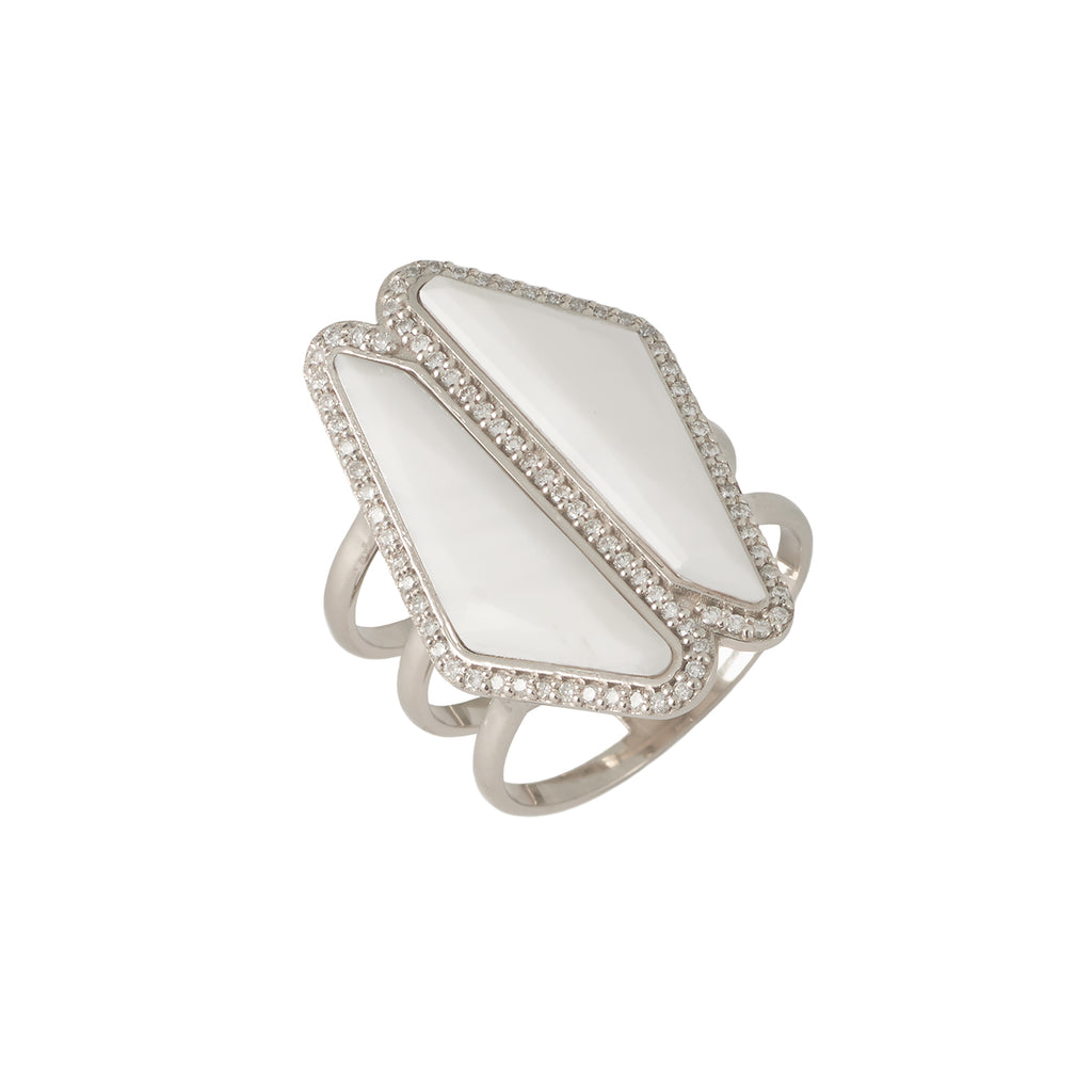 Bone Double Halo Slice Ring