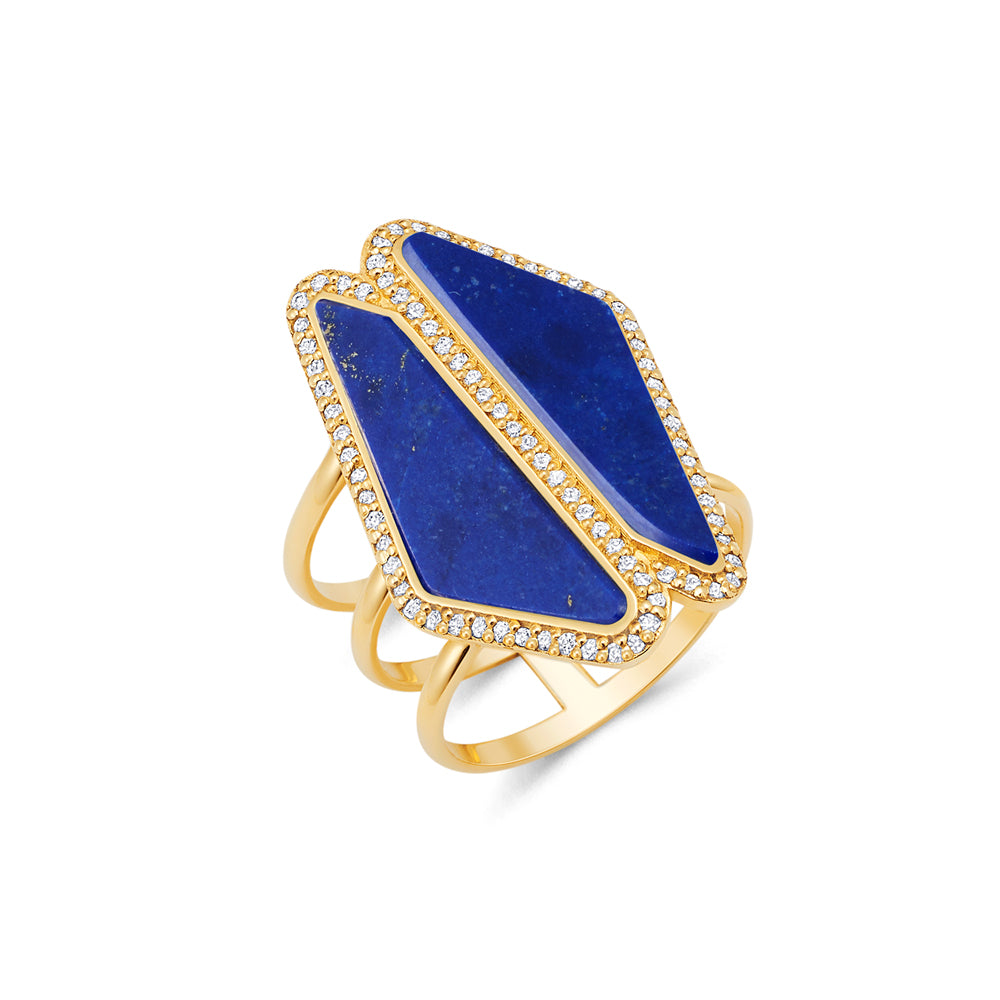 Lapis Double Halo Slice Ring