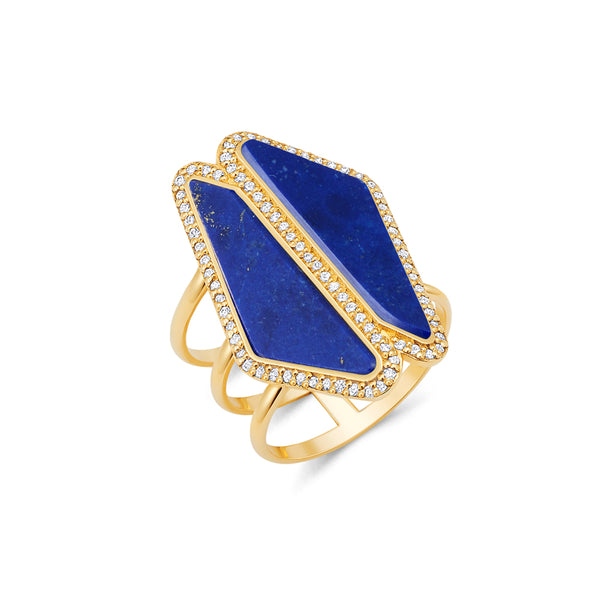 Lapis Double Sliced Shank Ring