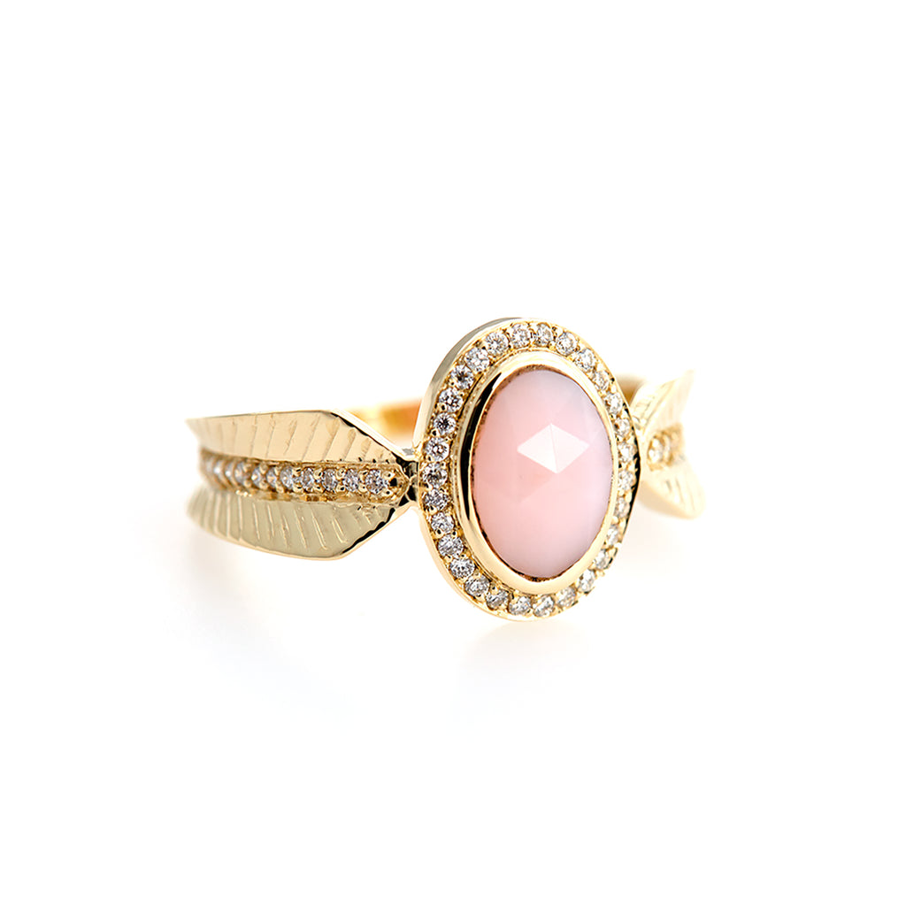 Rose Quartz Feather Pave Ring