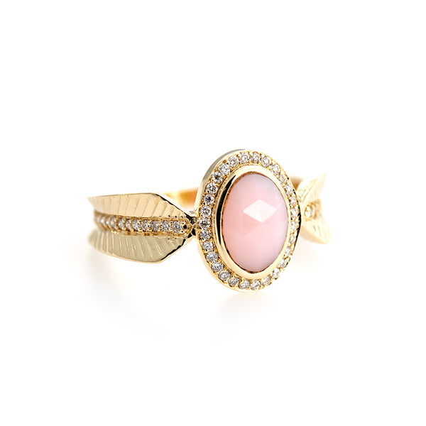 Rose Quartz ring gold ring new design for women gift