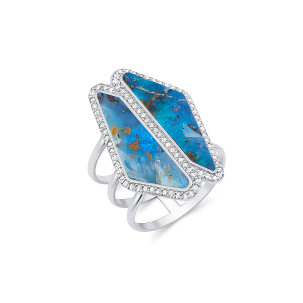 Double Halo Opal Slice Ring