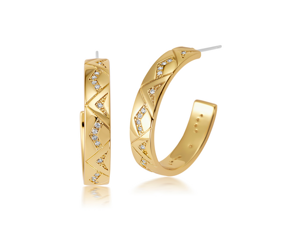 Gorgeous gold and pave diamond earrings for women