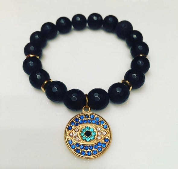 Black Agate + Gold Evil Eye