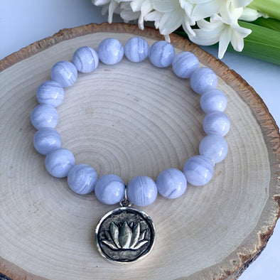 Blue Lace Agate. The Jewel Mama. Buy. Shop. Crystals. Bracelets. Yoga Collection.